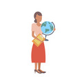 woman geography teacher holding clipboard and vector image vector image