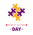 world autism day isolated icon puzzle pieces or vector image vector image