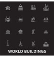 world buildings editable line icons set on vector image vector image