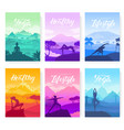 yoga exercise on the top of the mountains vector image