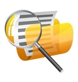 Yellow file folder with magnifying glass vector image
