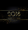 2018 new year black background with gold glitter vector image vector image