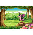 A colorful butterfly standing above the stump at vector image vector image