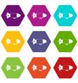 aerostat airship icon set color hexahedron vector image vector image