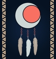 american indian magical dreamcatcher with feathers vector image vector image