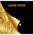 background with curled corner and gold with vintag vector image vector image
