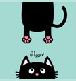 black cat looking up funny face head silhouette vector image vector image