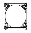 black square vintage frame with floral curls vector image vector image