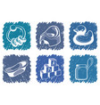 blue childrens icons vector image vector image