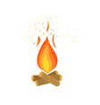 bonfire burning on firewood campfire vector image