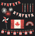 Canada Day Patriotic Chalk Flag Party Set vector image