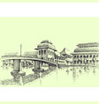 city bridge over river hand drawing generic vector image