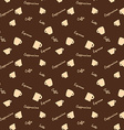 Coffee xups and names Seamless background pattern vector image