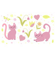 cute cats set flat hand mouse style kittens are vector image vector image