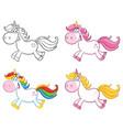 cute magic unicorn character set 1 collect vector image