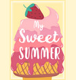 cute sweet pink strawberry melted ice cream vector image vector image