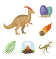different dinosaurs cartoon icons in set vector image