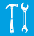 hammer and wrench icon white vector image vector image