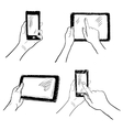 Hands touchscreen sketch set vector image vector image