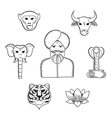 Indian nature and national symbols icons vector image