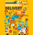 international delivery service statistics vector image vector image