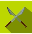 Japanese short swords icon flat style vector image