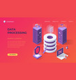 landing page for data base processing vector image