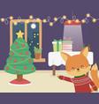 merry christmas celebration cute fox season party vector image vector image