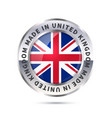 metal badge icon made in united kingdom with flag vector image vector image