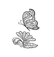 ornamented abstract butterfly and flower vector image