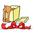 pet looking for a gift in a box - cheerful vector image vector image