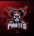 pirates skull mascot logo design vector image