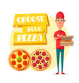 pizza delivery man with open box cartoon icon vector image vector image