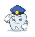 police tooth character cartoon style vector image vector image