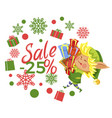 postcard with elf and 25 percent promo vector image vector image