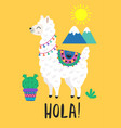 poster with funny llama and cactus vector image