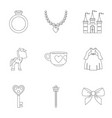 princess things icon set outline style vector image vector image