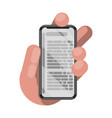 reading books on phone vector image vector image