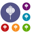 red chinese lantern icons set vector image vector image