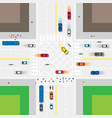 road and junction with people and vehicles vector image vector image