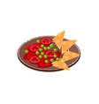 Salsa With Nachos On Plate vector image vector image