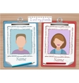 School yearbook and notes with two photos vector image vector image