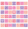 set 42 simple icons with heart vector image vector image