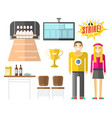 set of colorful bowling icons sport strike vector image vector image