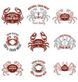 set of crab meat labels fresh seafood design vector image