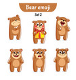 set of cute bear characters set 2 vector image vector image
