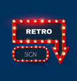 shining retro light arrow and rectangle sing set vector image