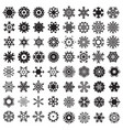 snowflake black flat icon set vector image