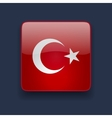 Square icon with flag of Turkey vector image vector image