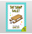 Toy shop sale flyer design with kids sleigh vector image vector image